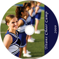 sample preprinted disc for schools featuring cheerleaders
