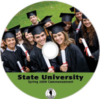 sample preprinted disc for schools featuring a graduation class