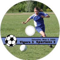 sample preprinted disc for schools featuring a sports team