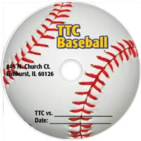 sample printed dvd featuring a baseball