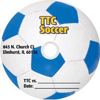 sample printed dvd featuring a soccer ball